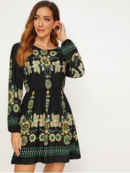 Boho A Line Tribal Regular Fit Round Neck Long Sleeve Regular Sleeve High Waist Multicolor Short Length Tribal Embroidery High Waist Swing A-line Dress