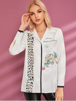 Casual Letter and Leopard Shirt Regular Fit Lapel Long Sleeve Regular Sleeve Placket White Longline Length Letter And Leopard Print Contrast Trim Blouse