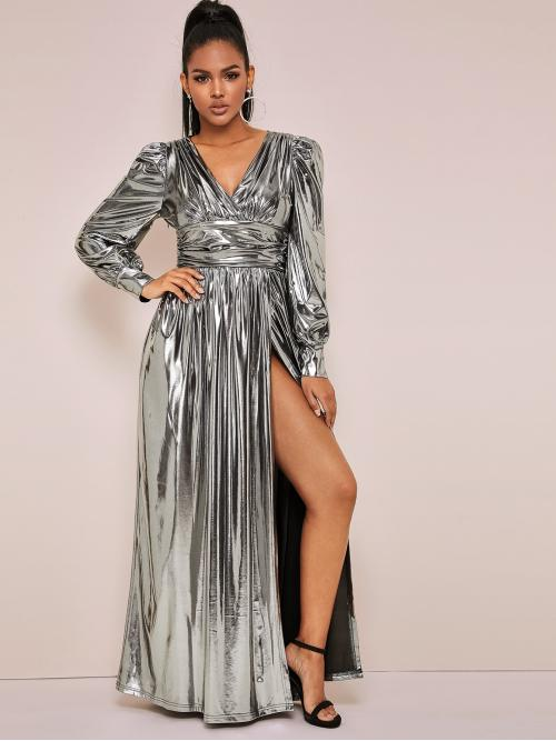 Glamorous and Sexy A Line Plain Slit Regular Fit V neck Long Sleeve Leg-of-mutton Sleeve High Waist Grey Maxi Length Bishop Sleeve Metallic Wrap Dress
