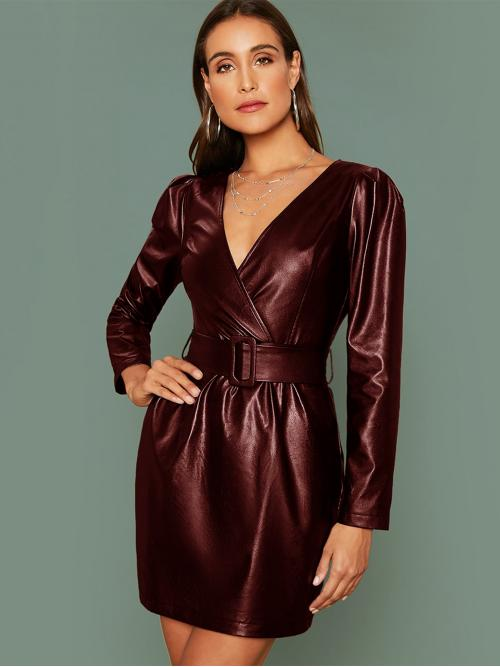 Glamorous Fitted Plain Straight Regular Fit V neck Long Sleeve Puff Sleeve High Waist Burgundy Short Length Surplice Neck Buckle Belted PU Leather Dress with Belt
