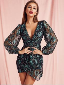 Glamorous and Sexy Bodycon Floral Wrap Slim Fit Deep V Neck Long Sleeve Bishop Sleeve Natural Multicolor Short Length SBetro Plunging Neck Draped Sheer Lace Dress with Lining