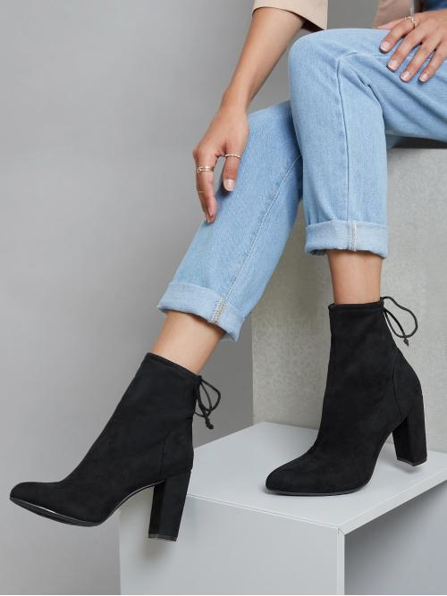 Black Stretch Boots Lace up High Heel Faux Self-tie Block Heel Booties on Sale