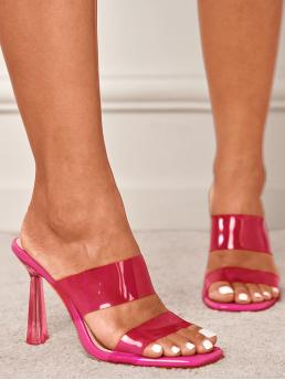 Pretty Hot Pink Mules High Heel Sculptural Heels Clear Double Band Mule Sandals
