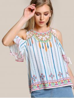Boho Striped and Geometric Top Slim Fit Round Neck Short Sleeve Multicolor Multi Stripe Cold Shoulder Top IVORY