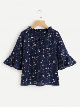 Casual Floral Top Regular Fit Stand Collar Three Quarter Length Sleeve Flounce Sleeve Navy Calico Print Flute Sleeve Frill Blouse