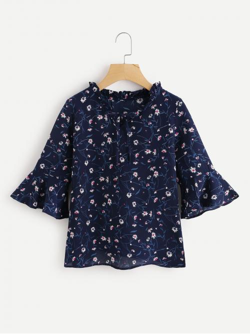 Three Quarter Length Sleeve Top Ruffle Satin Calico Print Flute Sleeve Frill Blouse Cheap