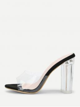 Affordable Corduroy Black Mules Cut out Clear Design Block Heeled Pumps