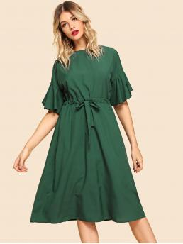 Ladies Green Plain Drawstring Boat Neck Solid Dress