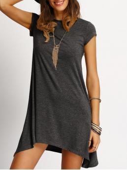Dark Grey Plain Asymmetrical Round Neck Hem Heathered Tee Dress Beautiful