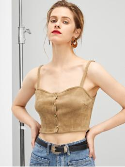 Womens Long Sleeve Cami Button Polyester up Top