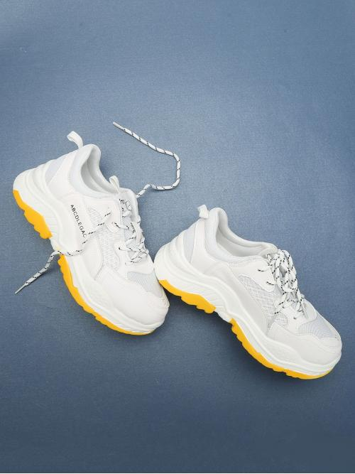 Ladies Corduroy White Chunky Trainers Embroidery Letter Tape Sneakers