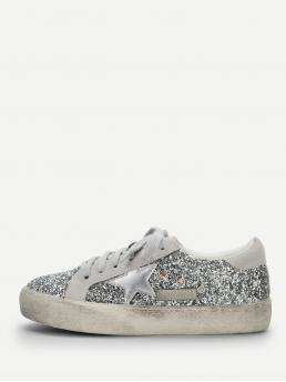 Skate Shoes Round Toe Lace Up Silver Star Detail Glitter Lace Up Sneakers