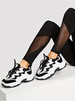Beautiful Corduroy Black and White Chunky Trainers Contrast Sequin Sole Sneakers
