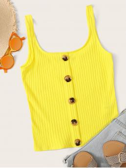 Casual Tank Plain Regular Fit Scoop Neck Yellow and Bright Regular Length Neon Yellow Button Front Rib-knit Tank Top