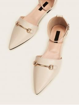Comfort Ankle Strap Beige Point Toe Ankle Strap Flats