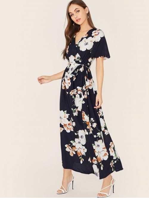 Boho A Line Floral Wrap V neck Short Sleeve Butterfly Sleeve High Waist Navy Maxi Length Floral Print Wrap Knotted Dress with Belt