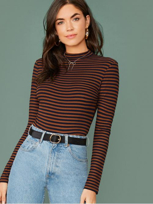 Casual Striped Slim Fit Stand Collar Long Sleeve Regular Sleeve Pullovers Brown Regular Length Mock Neck Rib-knit Striped Fitted Top