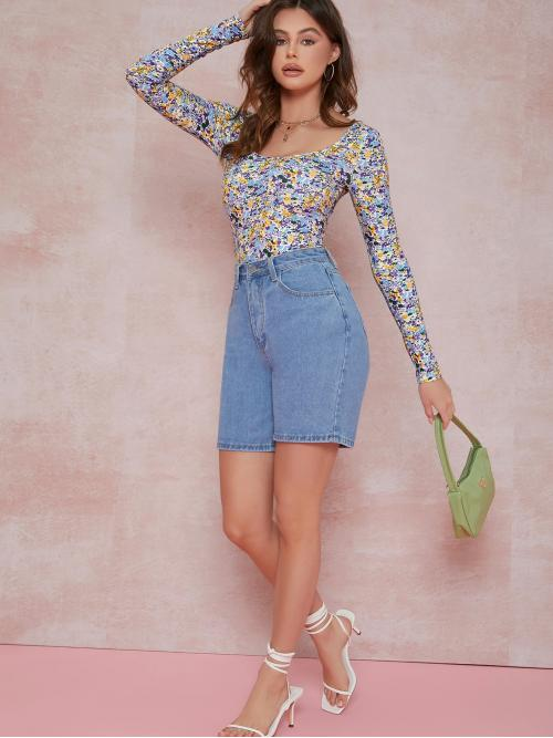 Long Sleeve Tee Polyester Ditsy Floral Thong Bodysuit Pretty