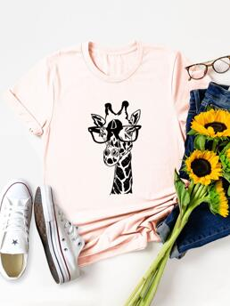 Short Sleeve Cotton Graphic Baby Pink Giraffe with Glasses Print Tee Ladies