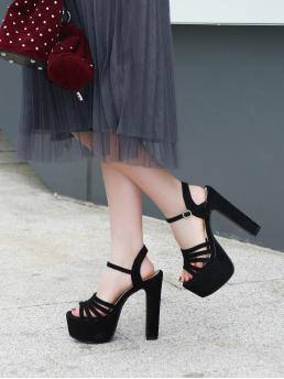 Clearance Black Strappy Sandals Ultra High Heel Chunky Platform Sandals