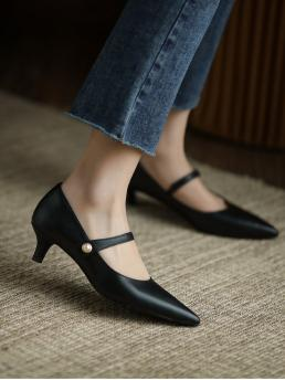 Black Mary Jane Pearls Low Heel Faux Pearl Decor Pumps on Sale