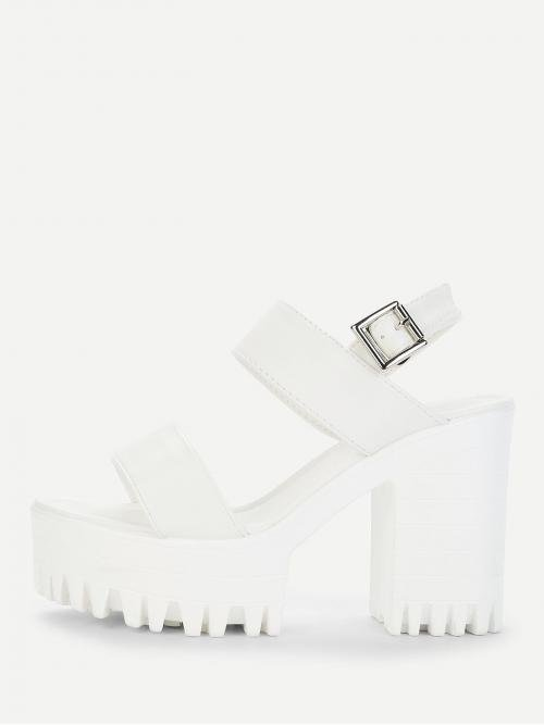 Corduroy White Mules Bow Two Part Ankle Platform Heels on Sale
