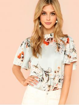 Casual Floral Top Regular Fit Stand Collar Short Sleeve Multicolor Regular Length Mock Neck Butterfly Sleeve Floral Top