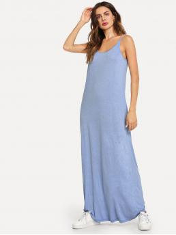 Sexy Cami Plain Straight Loose Spaghetti Strap and Scoop Neck Sleeveless Natural Blue Maxi Length Scoop Neck Jersey Cami Dress