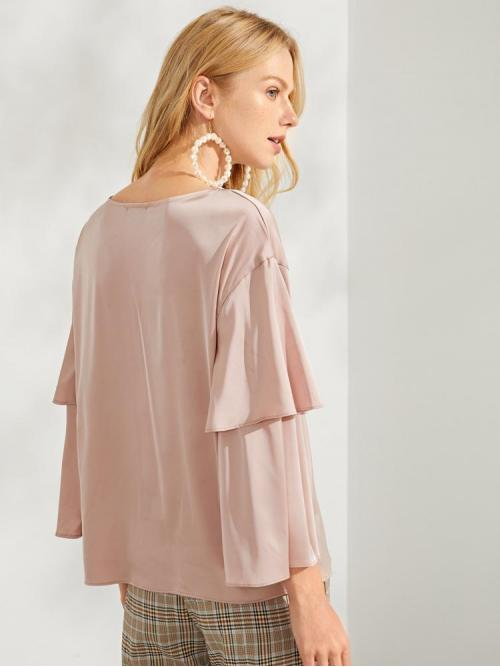 Long Sleeve other Belted Polyester Solid Tunic Tee on Sale