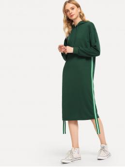 Sporty Striped Regular Fit Hooded Long Sleeve Green Longline Length Drawstring Hoodie Striped Tape Side Sweatshirt Dress