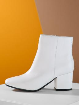 Other Point Toe Plain Side zipper White High Heel Chunky Pointed Toe Side Zip Block Heel Booties