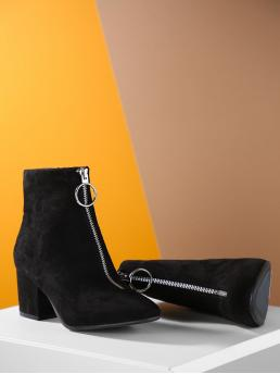Other Point Toe Side zipper and Front Zipper Black High Heel Chunky Faux Suede Pointed Toe Chunky Heel Booties