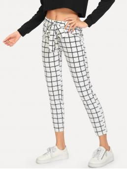 Casual Plaid Tapered/Carrot Regular Elastic Waist Mid Waist White Cropped Length Knot Front Plaid Pants