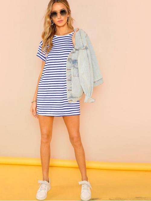 Womens Blue Striped Belted Round Neck Tee Dress