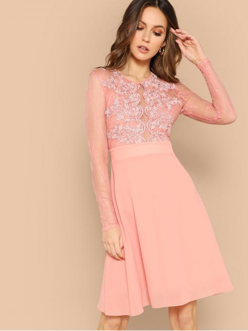 Romantic A Line Plain Fit and Flare Flared Round Neck Long Sleeve Regular Sleeve High Waist Pink and Pastel Short Length Lace Overlay Sheer Bodice Skater Dress