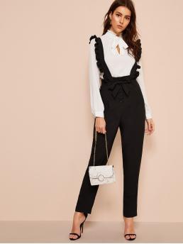 Preppy Plain Straight Leg Regular Button Fly High Waist Black Long Length Belted Button Fly Pants With Ruffle Straps with Belt