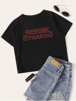 Casual Letter Regular Fit Round Neck Short Sleeve Pullovers Black Crop Length Letter Graphic Tee
