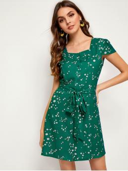 Casual A Line Ditsy Floral Square Neck Cap Sleeve High Waist Multicolor Short Length Ditsy Floral Tie Front Button Through Dress