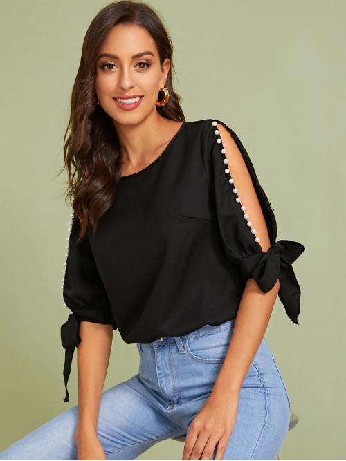 Elegant Plain Top Regular Fit Round Neck Half Sleeve Split Sleeve Pullovers Black Regular Length Pearls Split Knot Cuff Sleeve Top