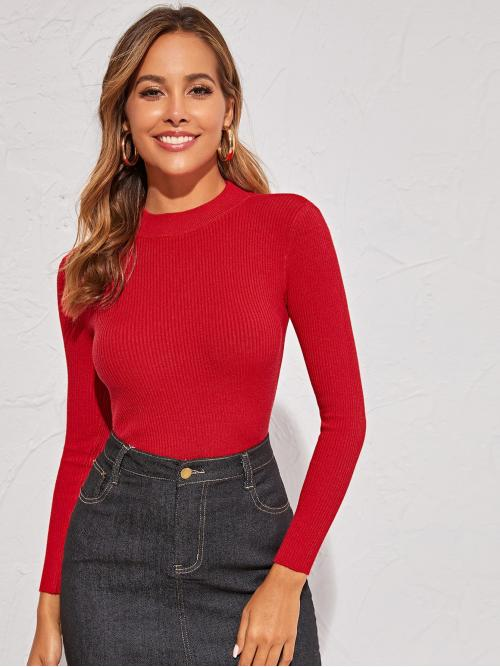 Casual Plain Basic Tops Slim Fit Stand Collar Long Sleeve Regular Sleeve Pullovers Red Regular Length Solid Mock Neck Fitted Sweater