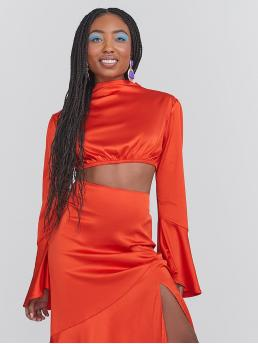 Fashion Long Sleeve Top Button Satin Neon Orange Top