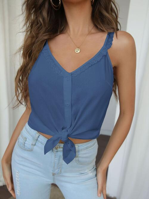 Cami Button Front Polyester Plain Solid Top Affordable
