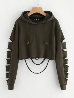 Long Sleeve Pullovers Ripped Corduroy Ladder Cutout Sleeve Pretty
