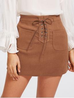Camel High Waist Lace up Straight Grommet Dual Pocket Fashion