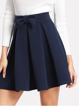 Womens Navy Blue High Waist Bow Flared Front Box Pleated Textured