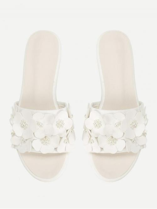 Fashion Corduroy White Strappy Sandals Cut out Flower Decorated Pu Flat Sliders