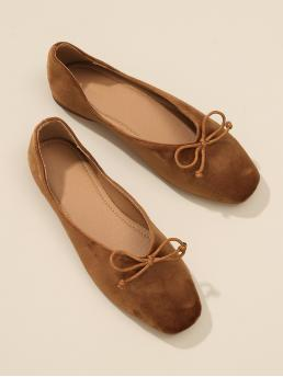 Brown Bow Decorated Square Toe Flats