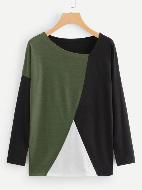 Womens Long Sleeve Top Button Polyester Cut and Sew Panel Tee