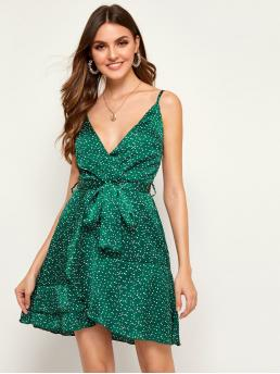 Casual Cami Polka Dot Wrap Regular Fit Spaghetti Strap Sleeveless High Waist Green Short Length Polka Dot Print Belted Cami Dress with Belt