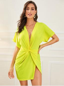 Sexy Fitted Plain Wrap Regular Fit Deep V Neck Short Sleeve Batwing Sleeve Natural Yellow and Bright Short Length Neon Yellow Plunge Neck Twist Front Split Dress